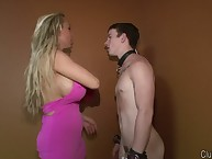 Hot CFNM mistreess humiliates young submissive