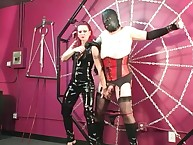 Redhead pitiless Domina clashing plus unendurable sanction submissive in the air corset plus stockings