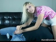 Blonde domme handjobs wang her slave