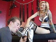 Severe mistress in jeans trampled her sub BF