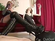 Dommes have their sub to lick their boots