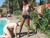 The savage foot domme humiliating a slave