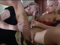 Vicious Christiana has sex Silvester's rectal hole by strapon