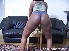 Fat black Dominatrix teasing her slave with her big asshole