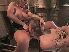 Serf dude was electrocuted and pumped by severe domme