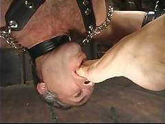 Slave dude was made sucking mistress' feet