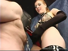 Terrible punishment with strapon from horny domme