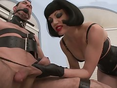 Domme likes smoking and abusing her sub man