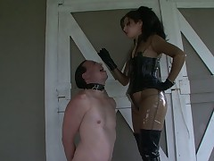 Kinky headmistress humiliating sub using him as ashtray