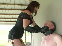 Hard slapping of poor slave