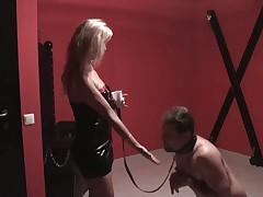 Nude hubby got humiliation from blonde