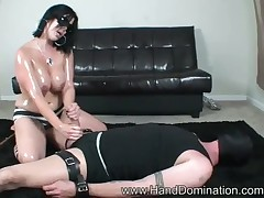 Sexy ebony domme oiled cock for stroking