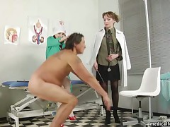 Hot dommes are having experiments with slave's dick in their kinky clinic