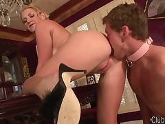 Husband had to clean asshole of his hotwife by tongue
