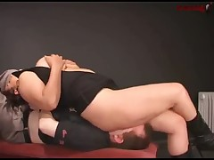 Torturing and smothering of poor guy by dominatrix