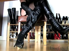 Domme trampling her sub and using her high heels