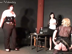 Sadistic spanking of man's ass by mistress