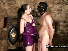 Very hot lesbian madams in gloves having fingering