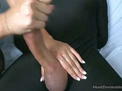 Mistress played with slave's penis and made handjob