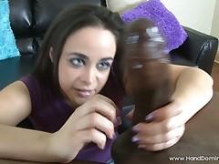 Black dick is enjoying good handjob
