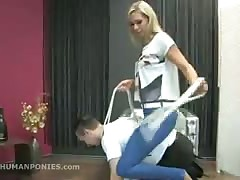 Blond Dominatrix likes using her human pony
