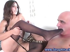 Mistress fucked asshole with strapon