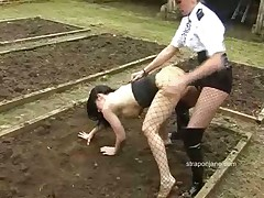 Lezdom porn with cop woman that pumped slut outdoors