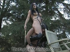 Slut was tortured man's balls and cock brutally