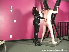 Black mistress was whipping, humiliating and spanking poor boy