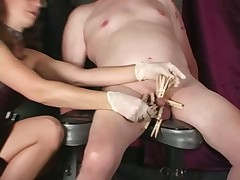 Bit of skirt Lena clothespins CBT together with Femdom