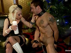 Slave and his Dominatrix in perverted sex games