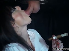 Slave dude got perfect handjob from his mistress