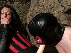 Domina Kismet smokes together with shows say no to strap-on