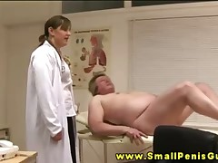 Femdom CFNM nurses wanking concealed penis atop analeptic enter