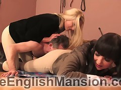 Twosome mistresses facesitted, trampled added to made submissive service their postilion