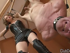 Bound male subby is getting punished by mistress