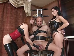 Mistress in latex sat on man's face and rode him rough