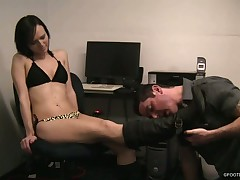 Sexy blond Dominatrix and subby in action