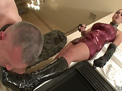 Domme's boots were licked clean by footdom sub