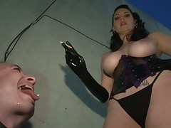 Good training of sub boy with smoking mistress