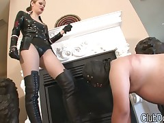 Mistress in leather boots adores fetish licking