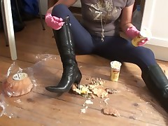 Dominatrix likes her dirty boots cleaned with male's tongue