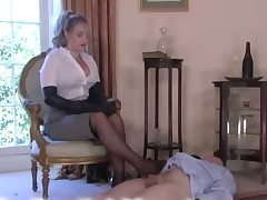 Professional Dominatrix was trampling her slave brutally