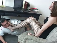 Footdom harlot with her slave in brutal porn