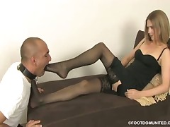 Mistress in sexy pantyhose loves when men kiss her feet