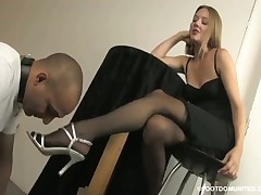 Favorite slave's game is kissing pantyhosed feet