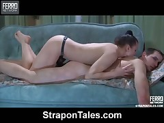 Anal experiments with perverted mistress with her strap-on and sub
