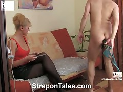 Grim Bridget fucked Hugo's tight butthole with strapon