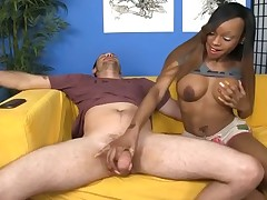 Ebony slut Caramel massaging huge hard cock till cum