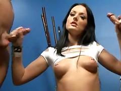 Raunchy Melissa Lauren milking two huge dorks for cum